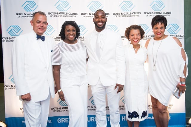 Paul Alagero, BGCGW Youth Of The Year Ayanna Holmes, Washington Redskins Wide Receiver and event host Pierre Garçon, BGCGW President Pandit F. Wright, BGCGW Board Chair Debbi Jarvis